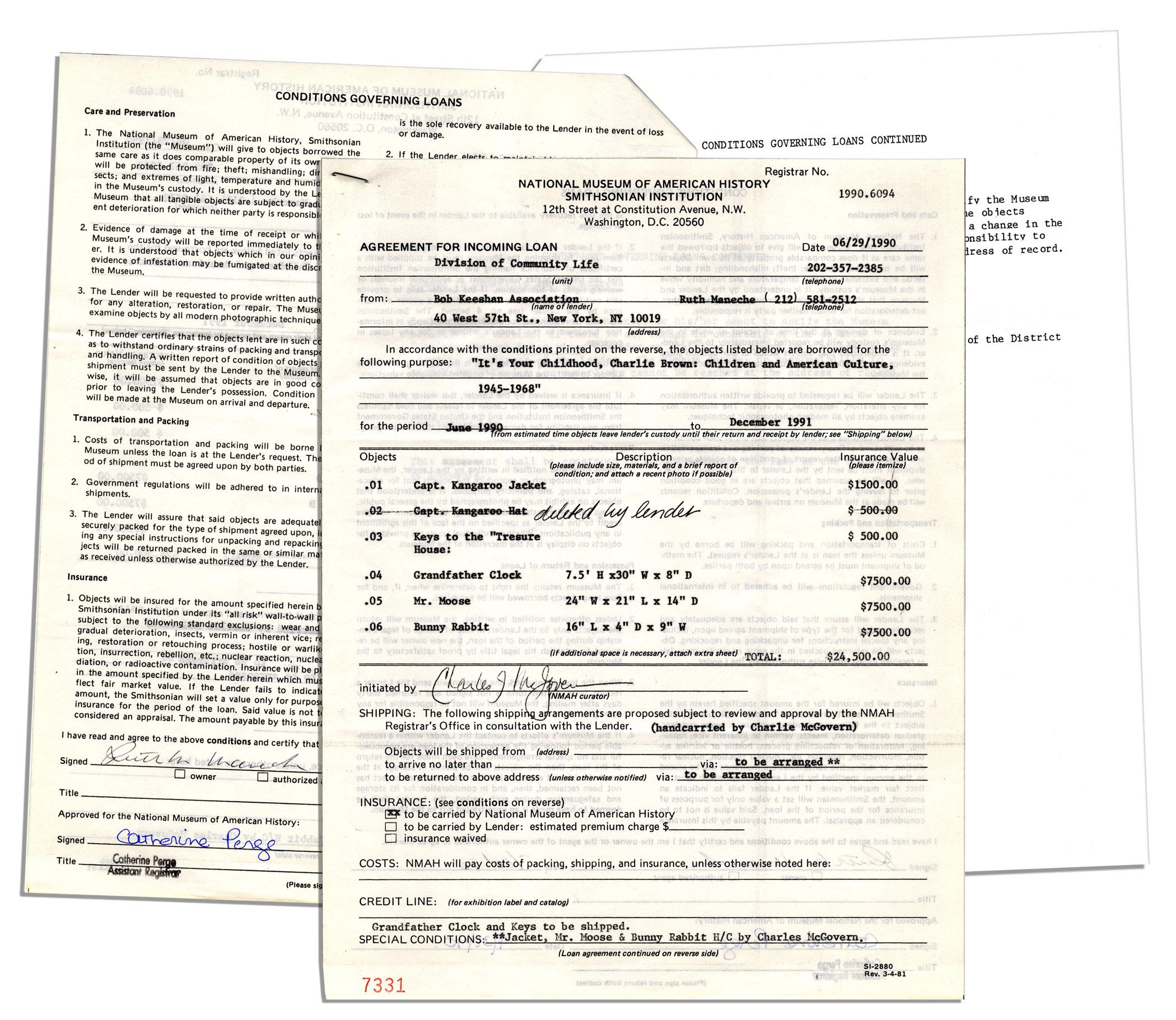 Lot Detail Captain Kangaroo Smithsonian Loan Agreement