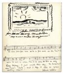 Kurt Weill Autograph Manuscript Quotation Signed for Song of the Free -- Also With John Steuart Curry Original Drawing Signed
