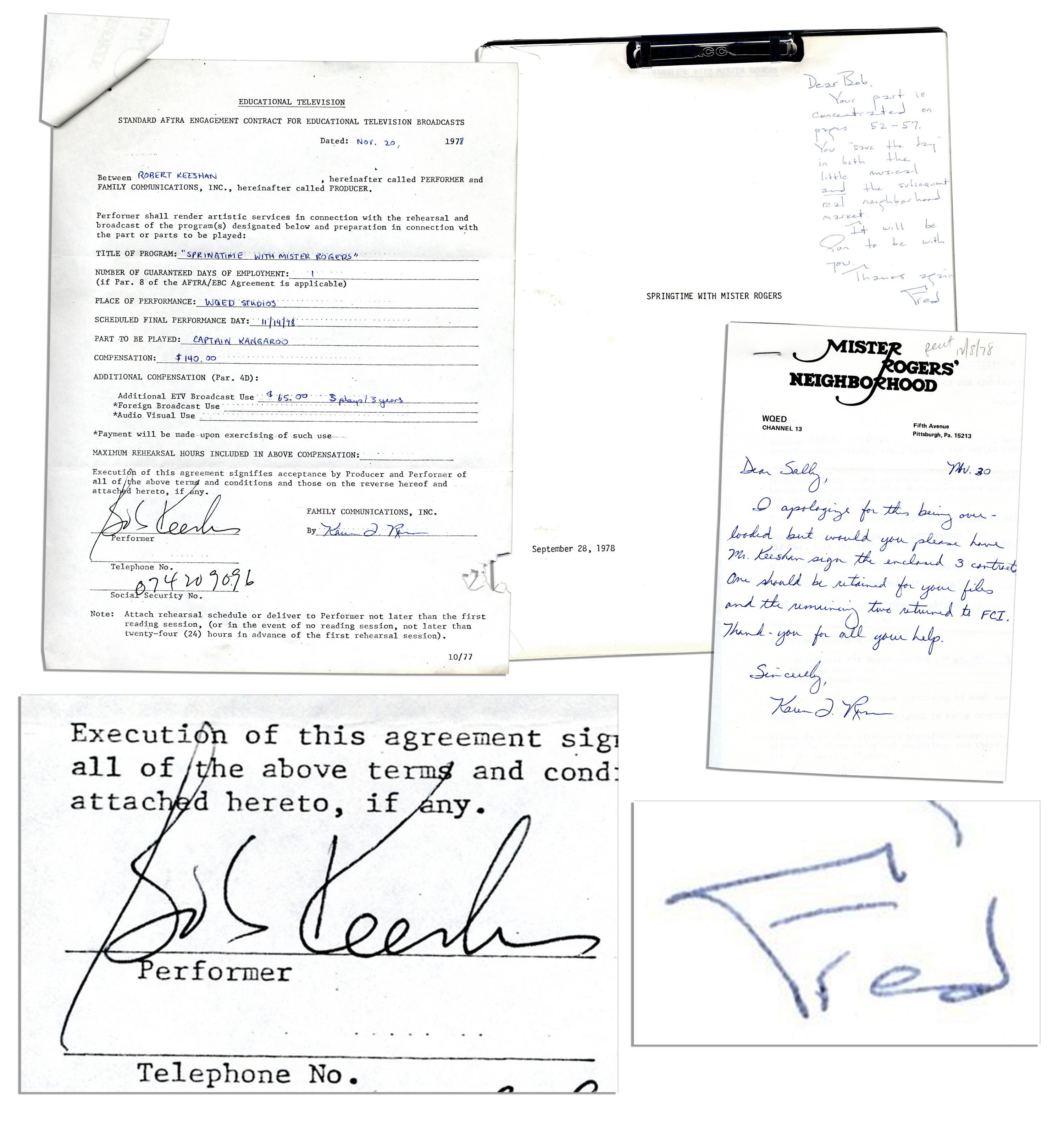 Lot Detail Captain Kangaroo Signed Contract To Guest Star On Mr Rogers In 1978 With An Ans By Fred Rogers To Bob Keeshan On The Episode S Script