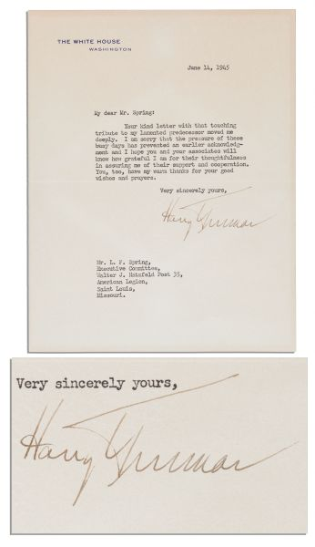 american legion letterhead template - lot detail president harry truman letter signed