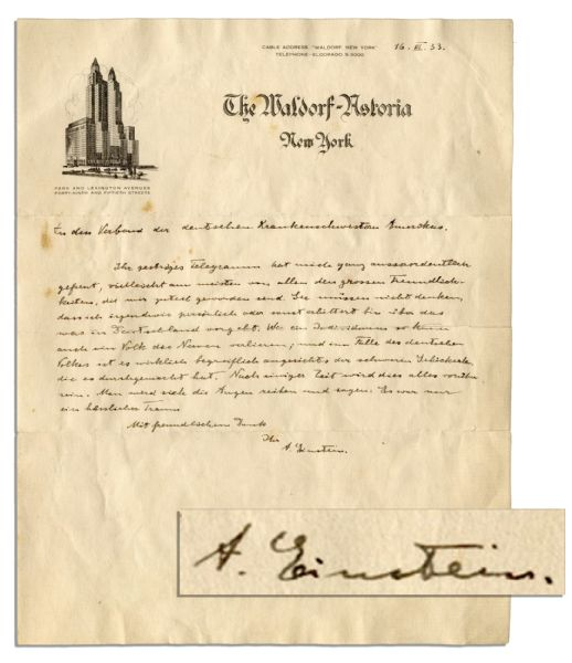 Haunting Albert Einstein Autograph Letter Signed About Nazi Germany -- ''...what is happening in Germany...one will rub one's eyes and say it all was just an ugly dream...''