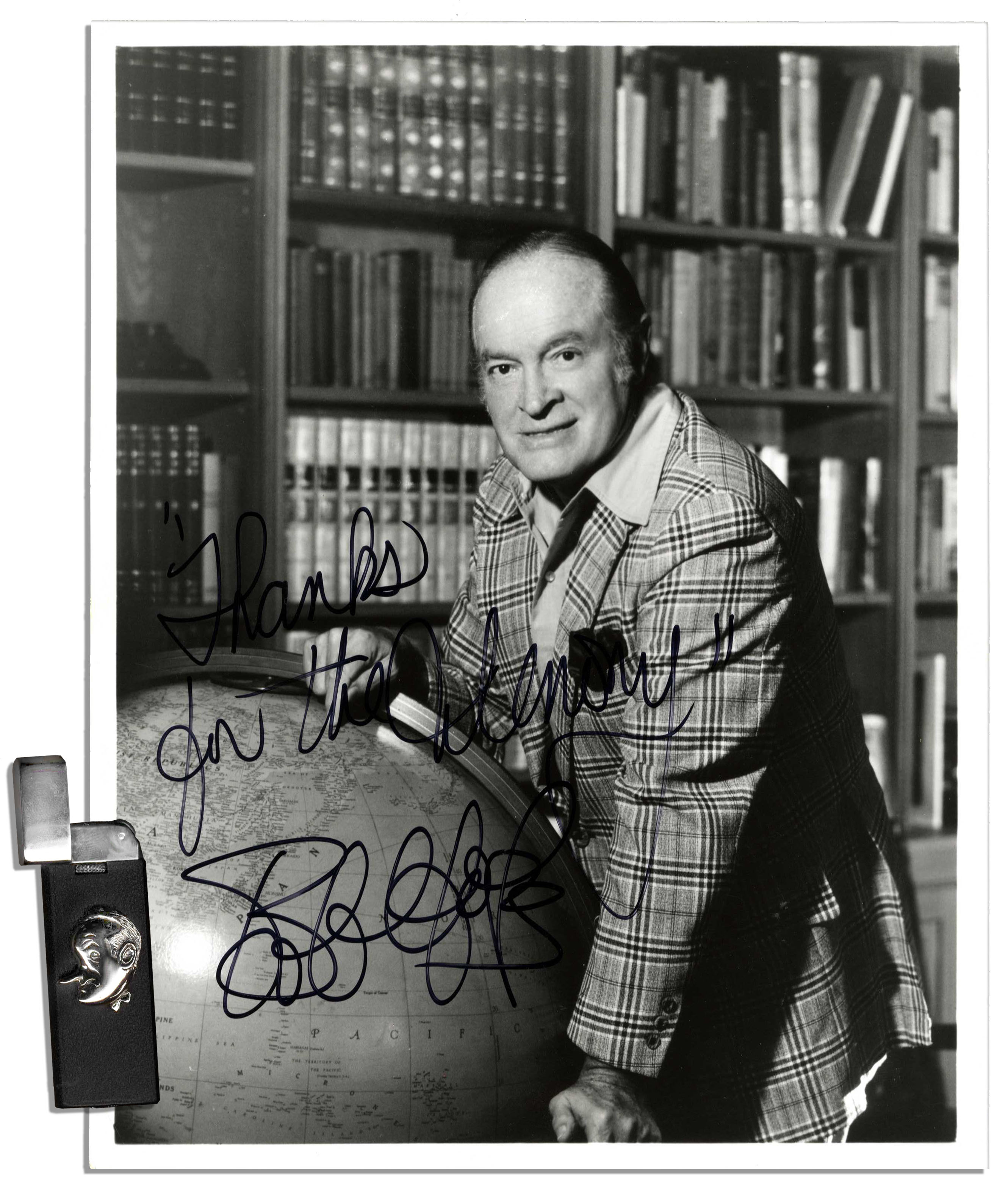Bob Hope Signed 8'' x 10'' Photo & Lighter With a Caricature
