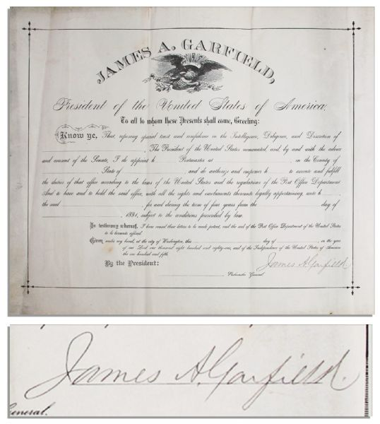 James Garfield autograph James Garfield Document Signed as President -- Very Rare as Garfield's Presidency Lasted Only 203 Days