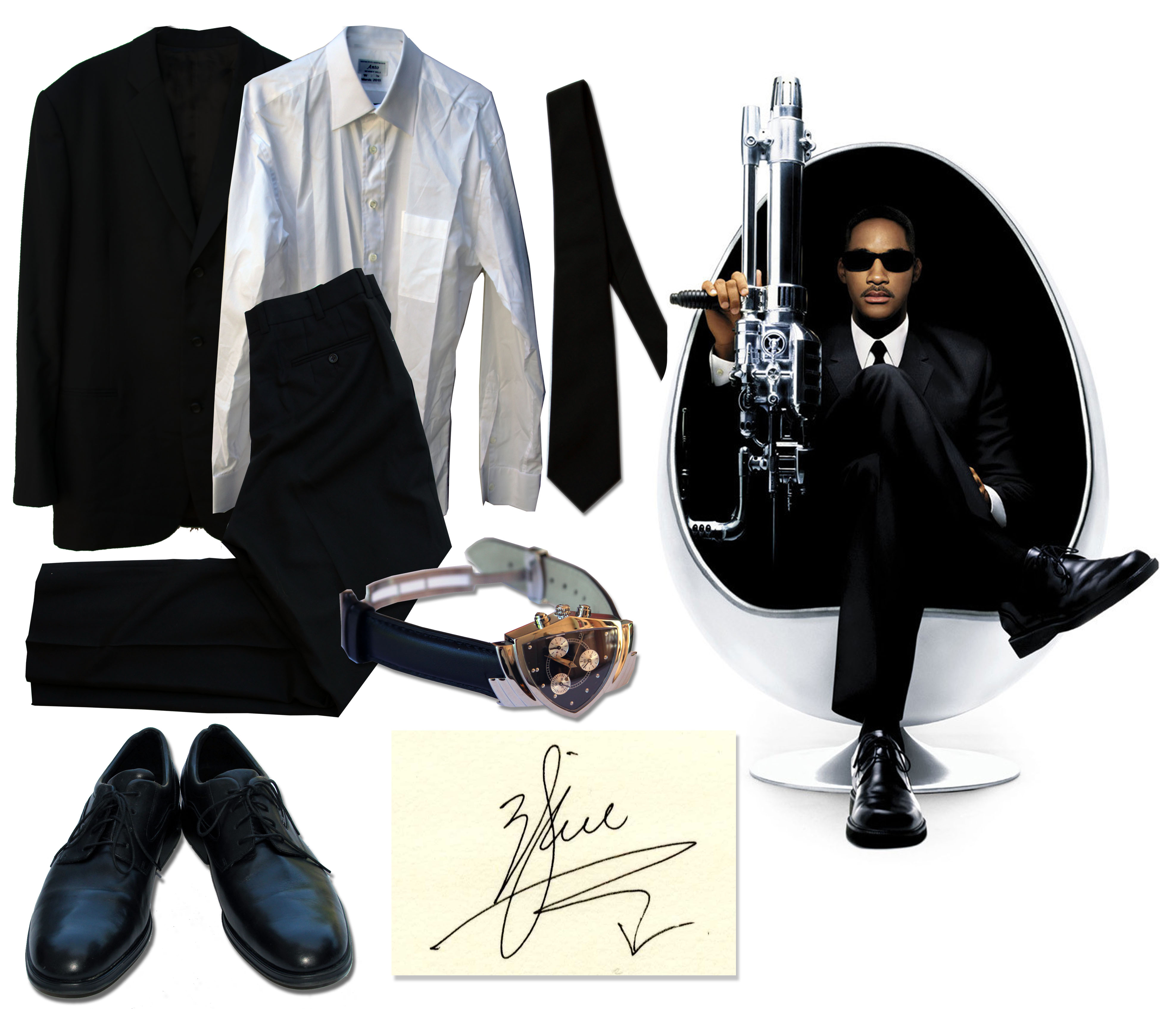 Men in Black costumes and Men in Black memorabilia Will Smith Screen-Worn Iconic Black Suit From ''Men In Black 3'' -- With LOA Signed by Will Smith