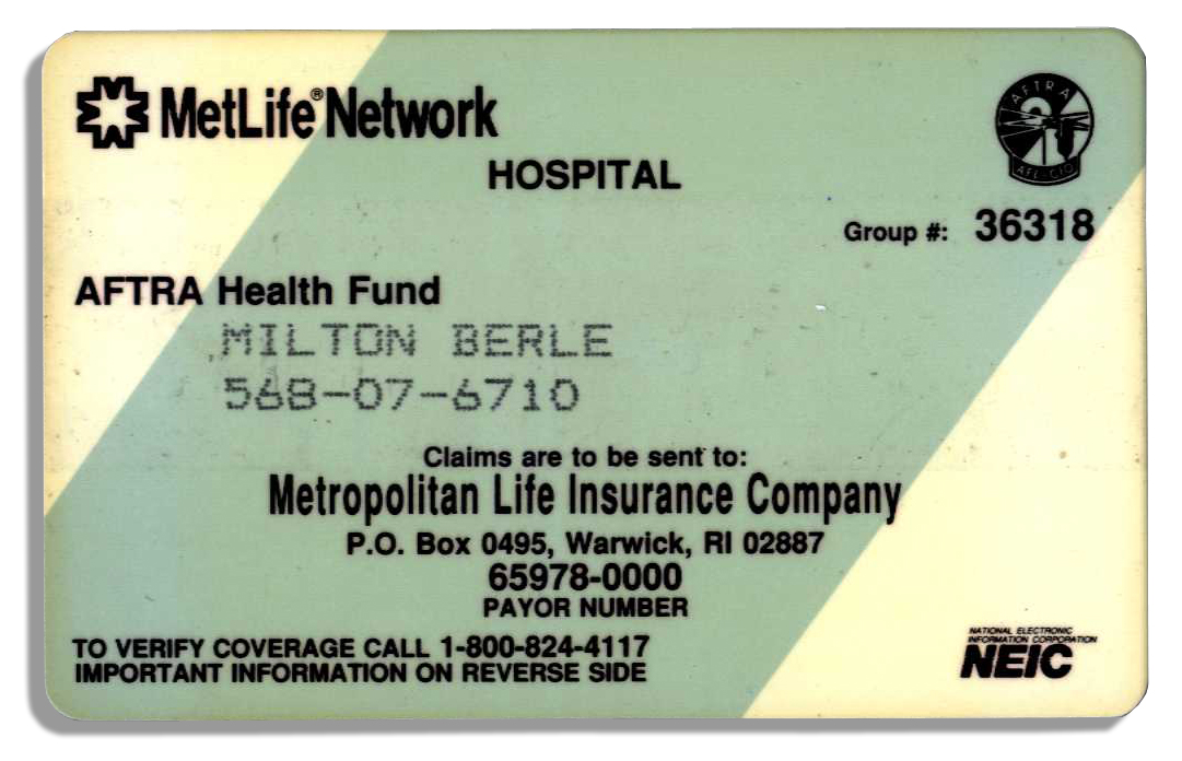 Lot Detail - Milton Berle's Health Insurance Card From His ...