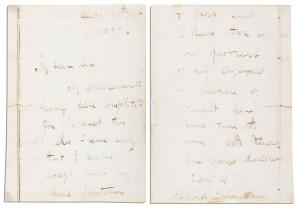 Dr. David Livingstone Autograph Letter Signed From 1857 -- During His Brief Stay in England Between African Missions