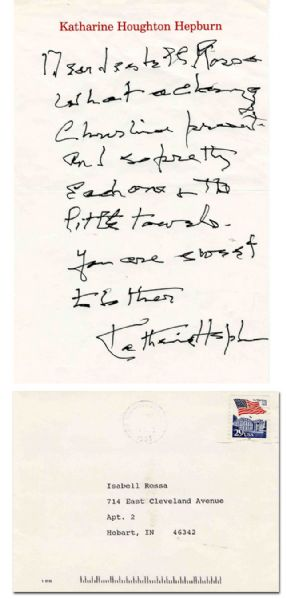 Katharine Hepburn Autograph Letter Signed on Her Personal Stationery -- ''...What a charming Christmas present...you are sweet...''