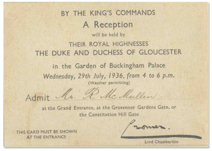 Lot detail buckingham palace 1936 garden party invitation buckingham palace 1936 garden party invitation signed by lord chamberlain under king edward viiis stopboris Choice Image