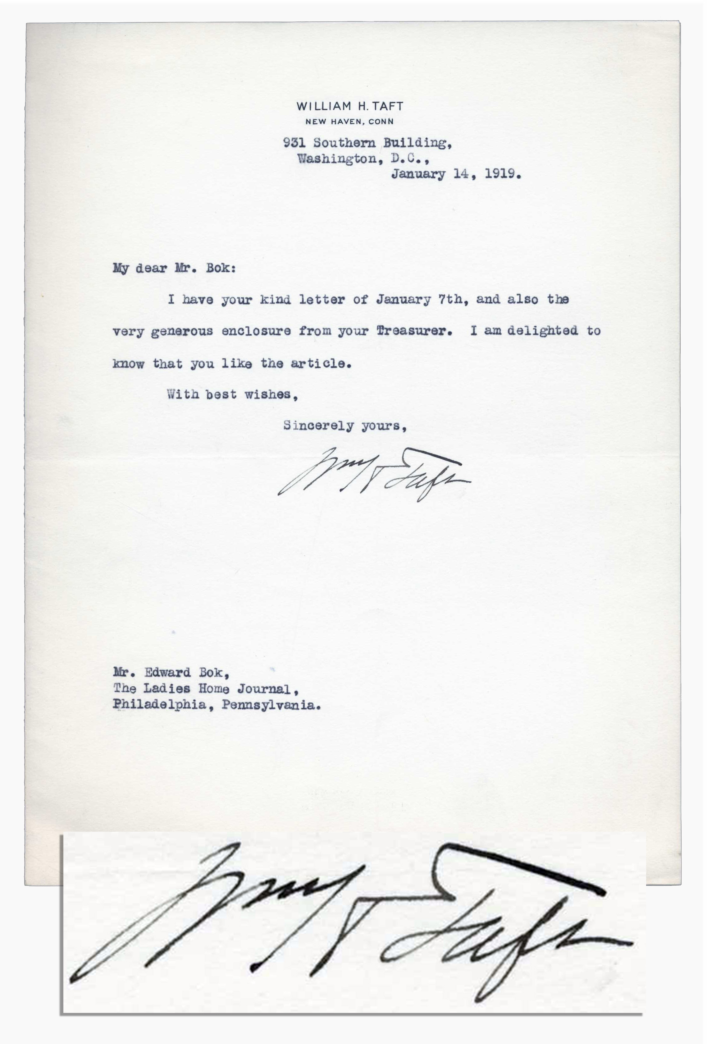 Lot Detail William Taft Typed Letter Signed to Editor Edward Bok