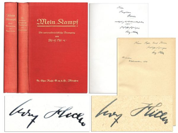 Adolf Hitler Signed Copies of His ''Mein Kampf'' -- Both Volumes Including a 1st Edition of Volume II, Signed by Hitler in 1925, Inscribed to Future SS Leader Josef Bauer