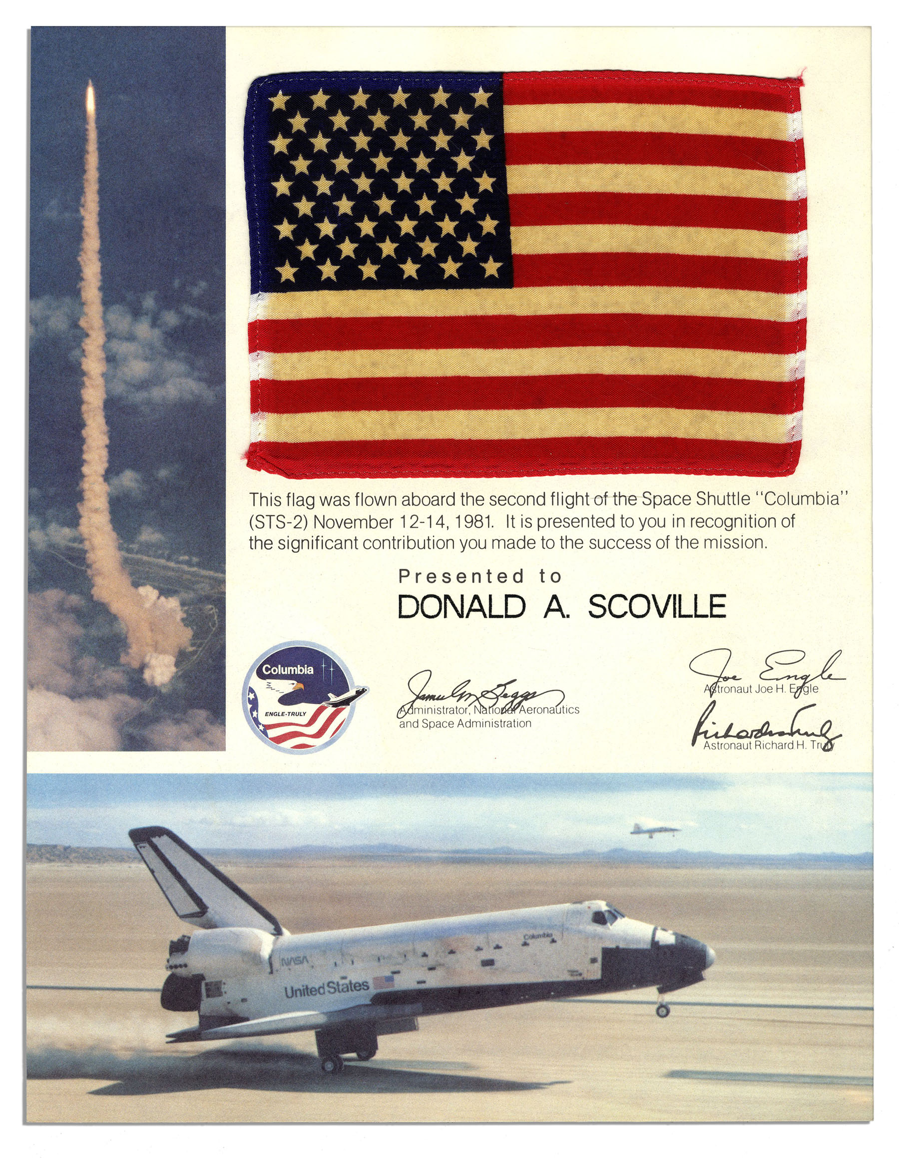 Lot Detail - Space-Flown Flag From The STS-2 Mission ...