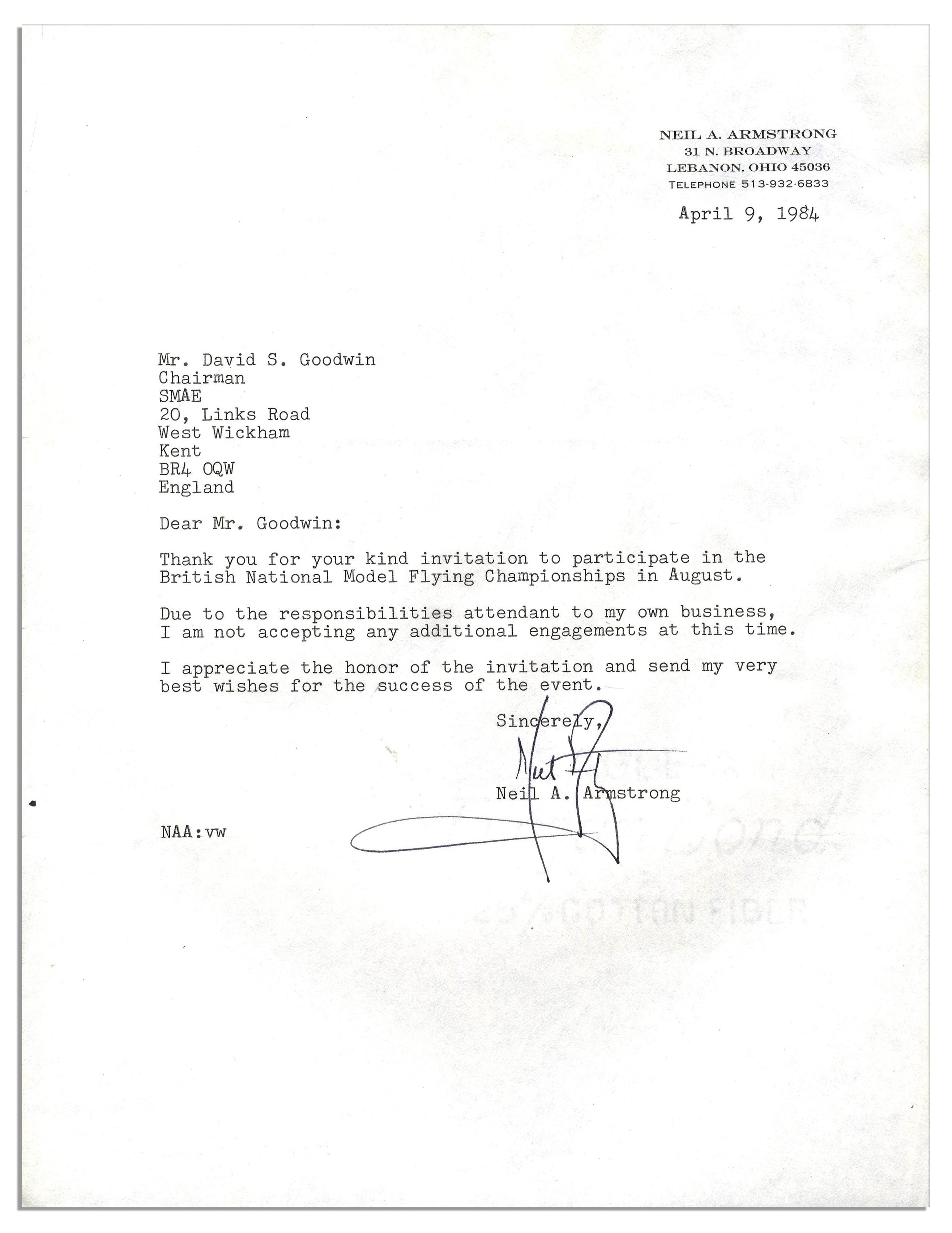neil armstrong typed letter signed thank you for your