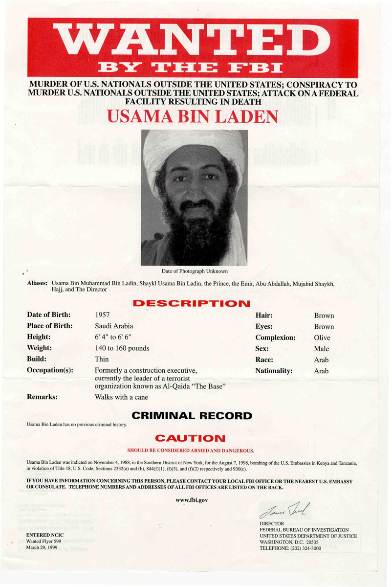 Lot Detail Exceptionally Rare Red Version of the Osama Bin – Criminal Wanted Poster