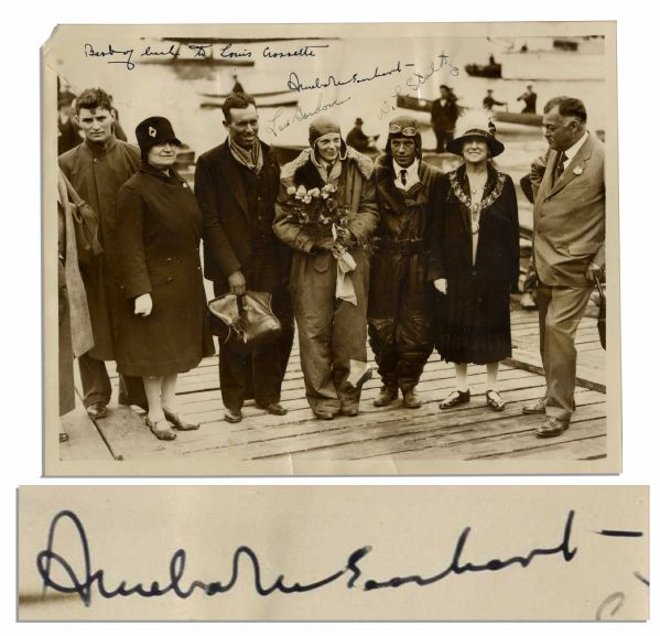 Rare Amelia Earhart Signed Photo, Taken Immediately After Her Successful Flight as the First Woman to Fly Across the Atlantic -- Also Signed by Flight Team Stultz & Gordon