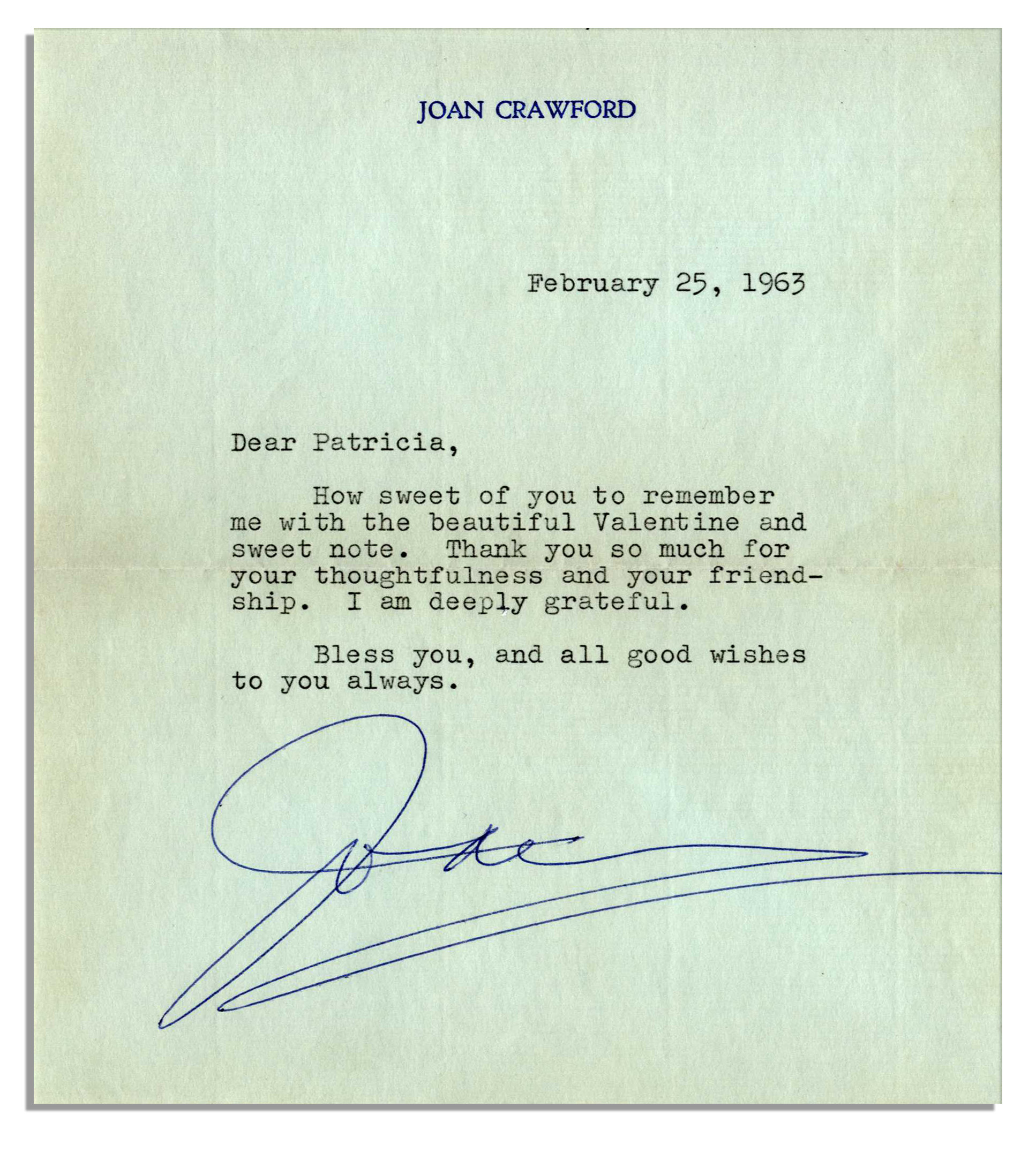 Lot Detail Joan Crawford Typed Letter Signed Ank You So