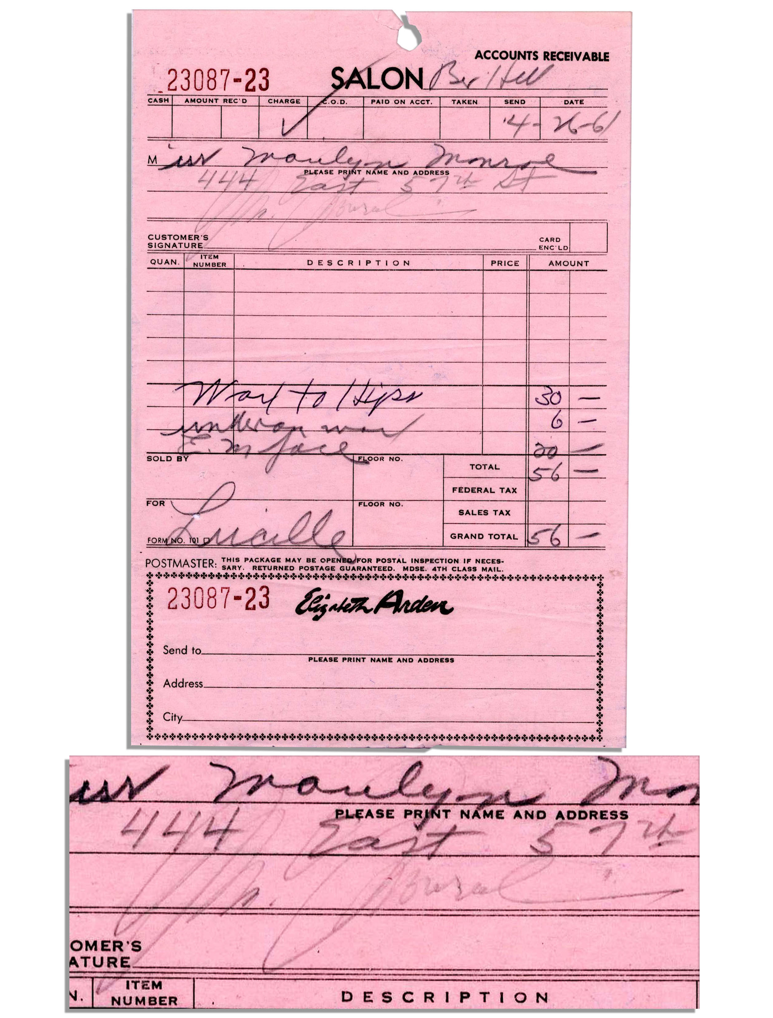 Lot detail marilyn monroe signed salon receipt from 1961 for A signature hollywood salon