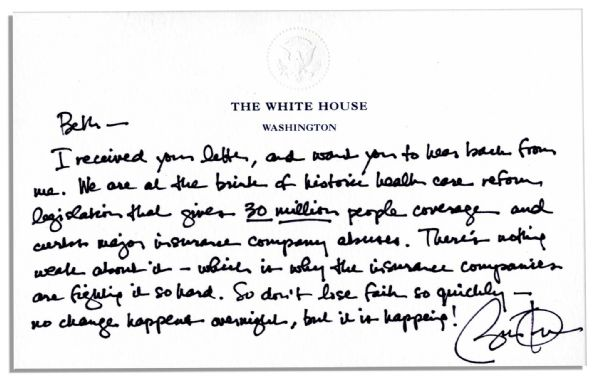 President Barack Obama Autograph Letter Signed on White House Stationery -- ''...We are at the brink of historic health care reform legislation that gives 30 million people coverage...''