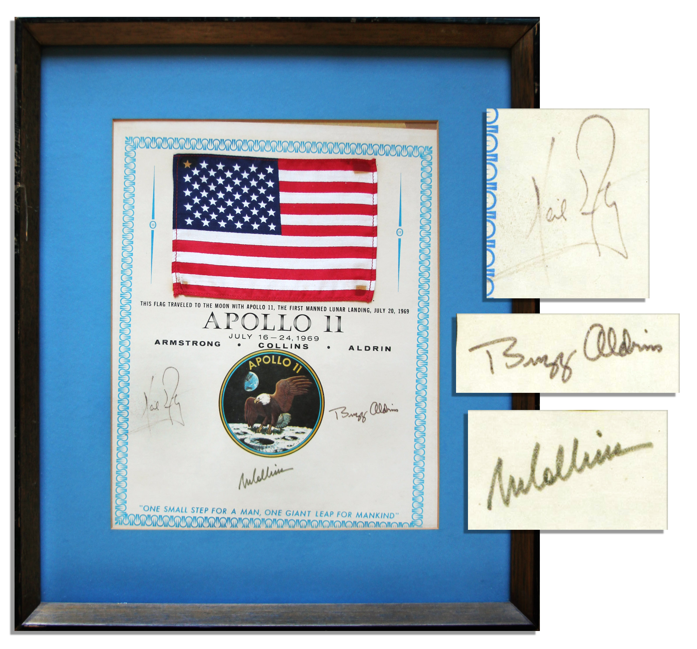 Apollo 11 Flag Flown to the Moon Apollo 11 Space-Flown Flag -- Affixed to a NASA Certificate Signed by Each of the Apollo 11 Crew Members: Neil Armstrong, Michael Collins & Buzz Aldrin -- Very Scarce