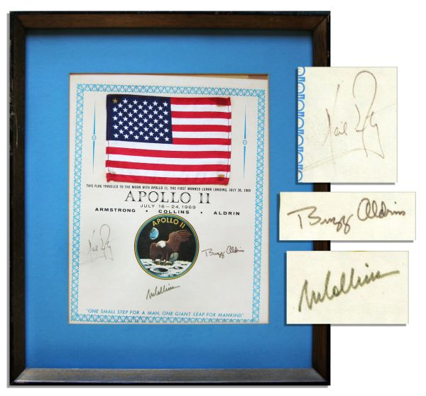 Apollo 11 Space-Flown Flag -- Affixed to a NASA Certificate Signed by Each of the Apollo 11 Crew Members: Neil Armstrong, Michael Collins & Buzz Aldrin -- Very Scarce