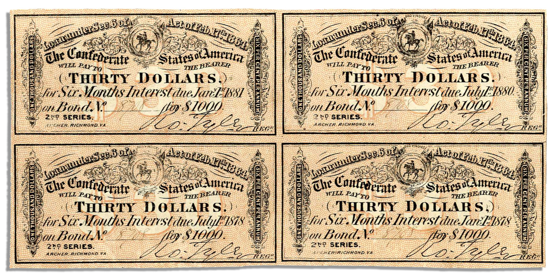 Lot Detail Four 1864 Confederate War Bond Coupons Each For 30