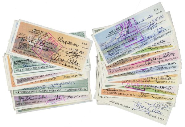 Lot of 100 Personal Checks Signed by Classic Hollywood Film Star Mary Astor