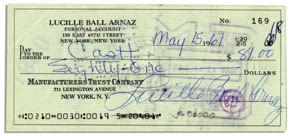 Lucille Ball Arnaz Signed Personal Check