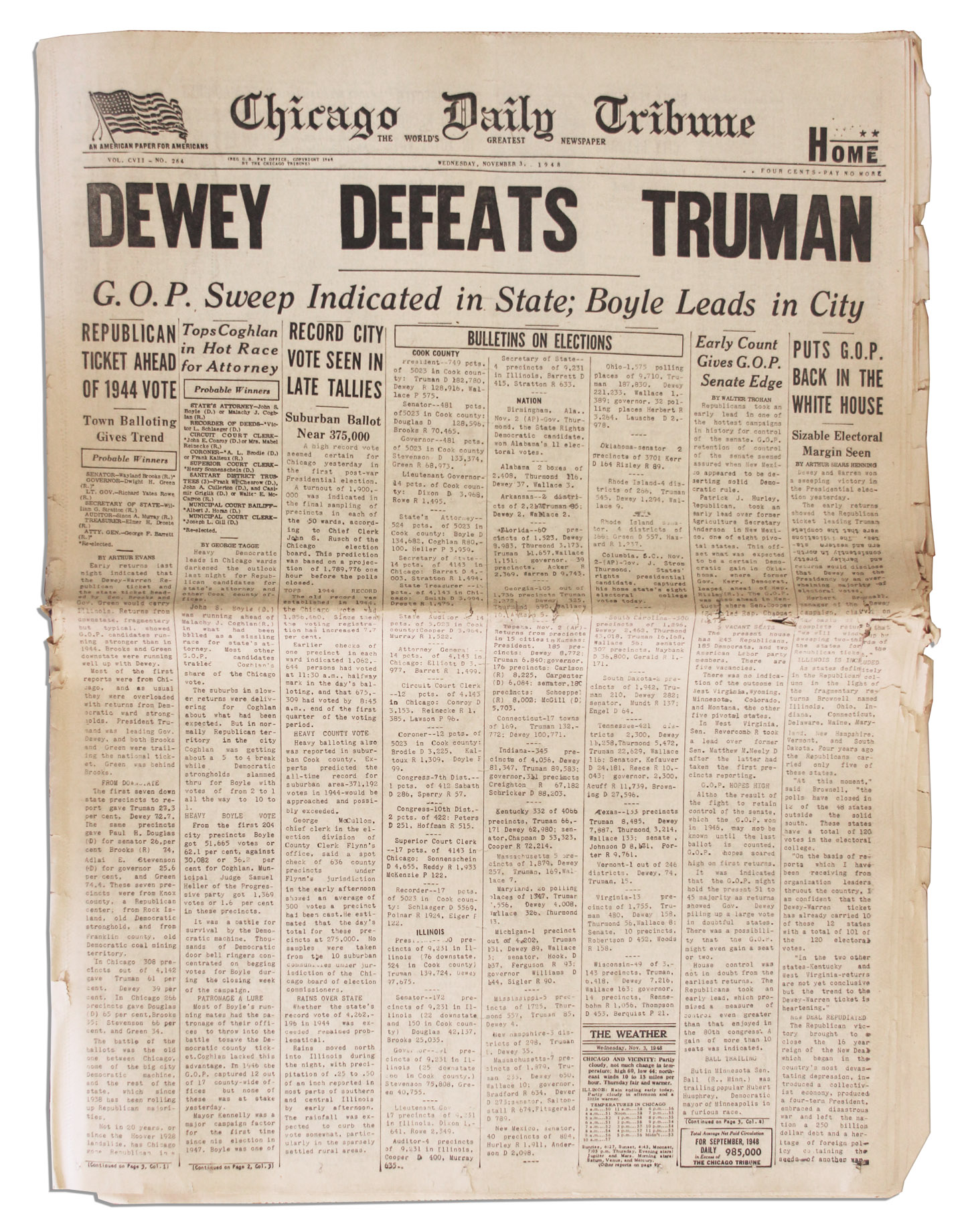 Harry Truman Memorabilia The Most Famous Newspaper Mistake of All Time -- ''Dewey Defeats Truman''