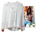 Teri Hatcher Screen-Worn Wardrobe From Desperate Housewives -- Blood-Stained Shirt From Episode Where Mike Is Killed