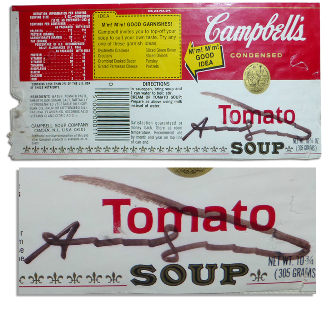 Andy Warhol Signed Iconic Campbell's Soup