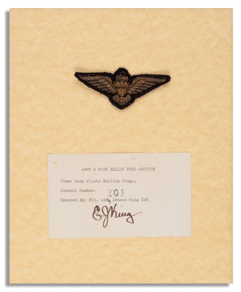 Fleet Admiral Ernest King's Navy Pilot Wing -- With Signed ''E.J. King'' Card by the WWII Legend