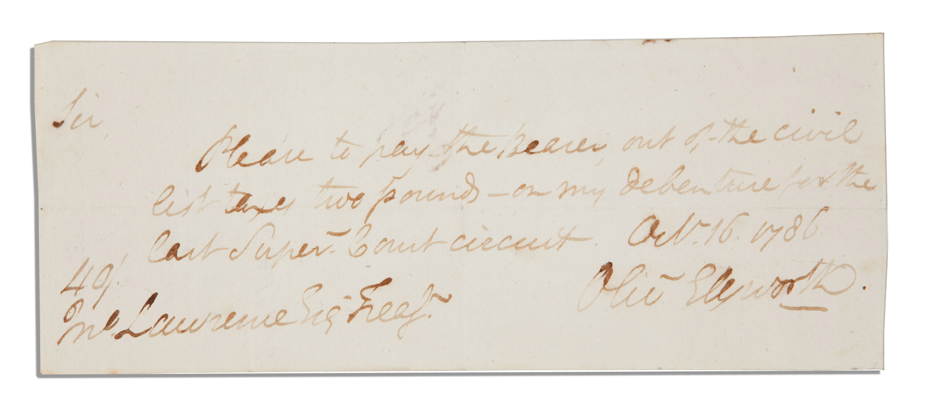 Lot Detail - Founding Father Oliver Ellsworth Autograph ...
