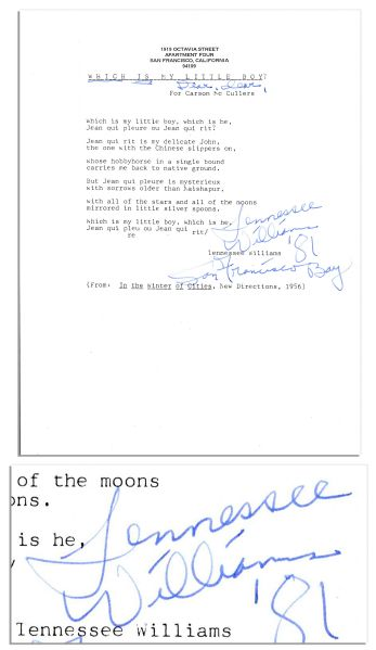 Tennessee Williams Typed Poem Signed -- ''Tennessee Williams '81 / For Francisco Bay''