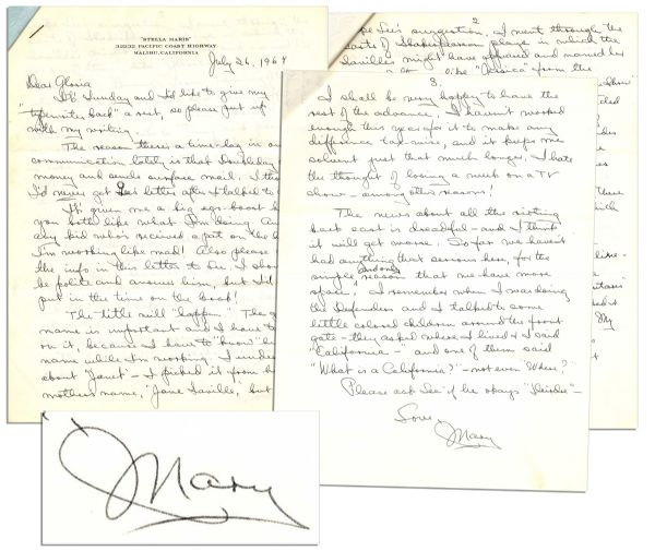 Mary Astor Autograph Letter Signed --  ''...The news about all the rioting back east is dreadful - and I think it will get worse...I talked to some little colored children...''