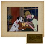 Disney 101 Dalmatians Animation Cel -- Frame From The Scene When The Puppies Are Born & Roger Revives One