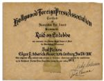 Golden Globe Awards 1977 Best Picture Nomination Certificate For Raid on Entebbe