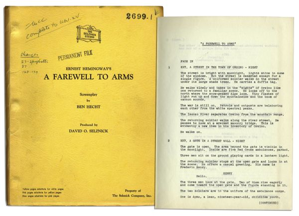''A Farewell To Arms'' 1956 Working Screenplay