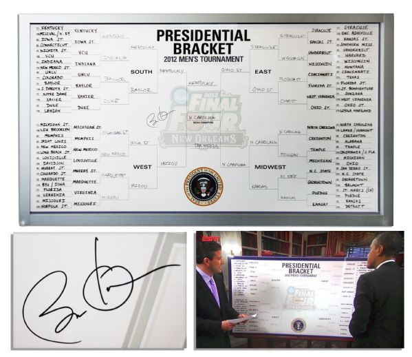 Barack Obama autograph Barack Obama Signed as President Leaderboard for the 2012 NCAA Men's Basketball Championship -- With Obama's Team Picks Handwritten by Him