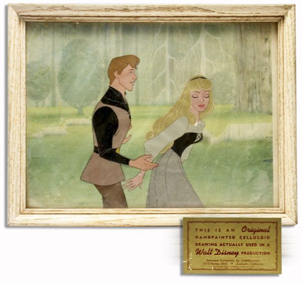 Original & Large Disney Cel From ''Sleeping Beauty'' -- Depicting Prince Philip and Briar Rose in The Famous ''Once Upon a Time'' Enchanted Sequence