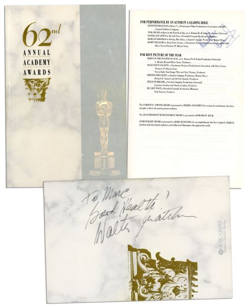 Signed 62nd Annual Academy Awards Program -- Best Actor & Best Director Nominee Kenneth Branagh Signs Along With Walter Matthau