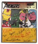 Metal Avengers Poster Signed by 14 Members of the 2012 Films Cast, Including Robert Downey Jr., Scarlett Johansson, Samuel L. Jackson, Gwyneth Paltrow, Mark Ruffalo & Chris Hemsworth