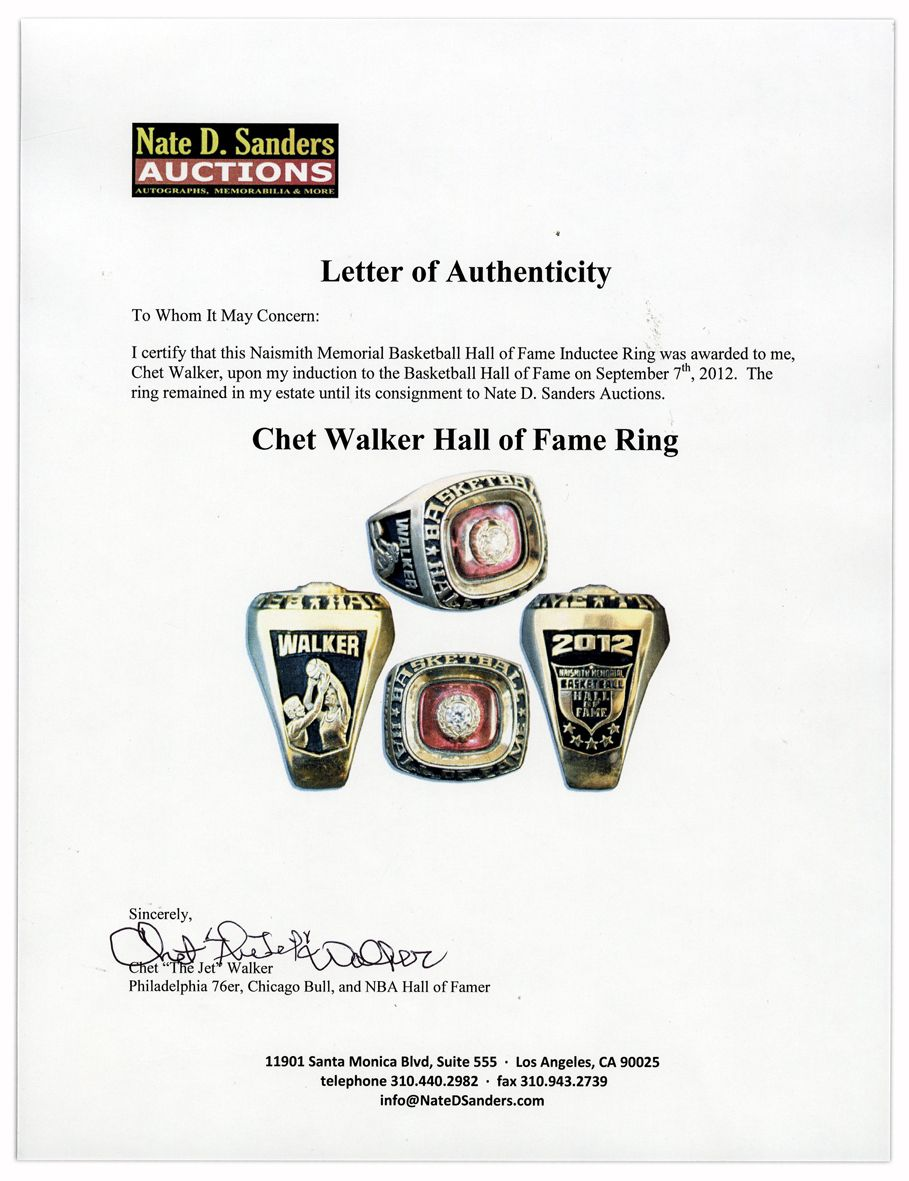 Lot Detail Chet The Jet Walker s Hall of Fame Ring Fine
