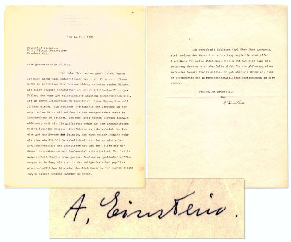 Albert Einstein Typed Letter Signed on Quantum Theory -- ''...fundamentally opposed to modern science...mystical view...is being publicized in the popular scientific literature...'' -- Scarce