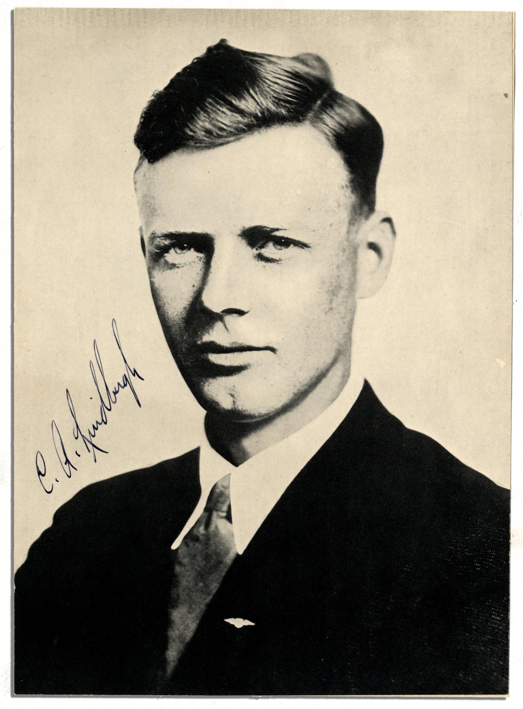 lot detail - charles lindbergh signed portrait