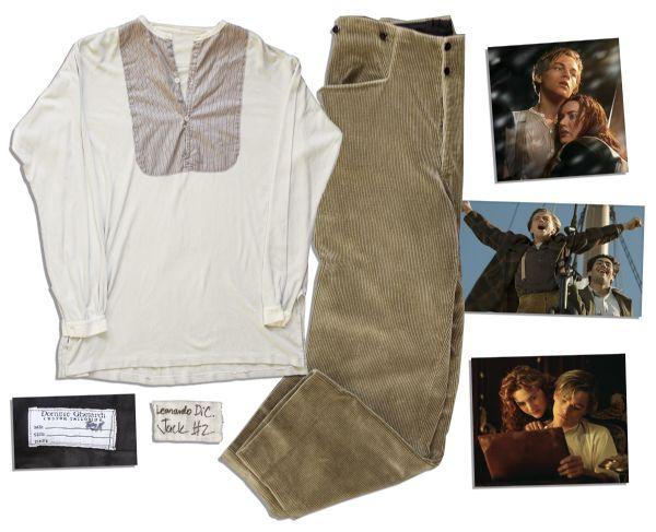 "Titanic auction Titanic Dress Coat Auction Leonardo DiCaprio Signature Wardrobe from the 1997 Epic ""Titanic"" -- Corduroy Trousers & Knit Shirt"