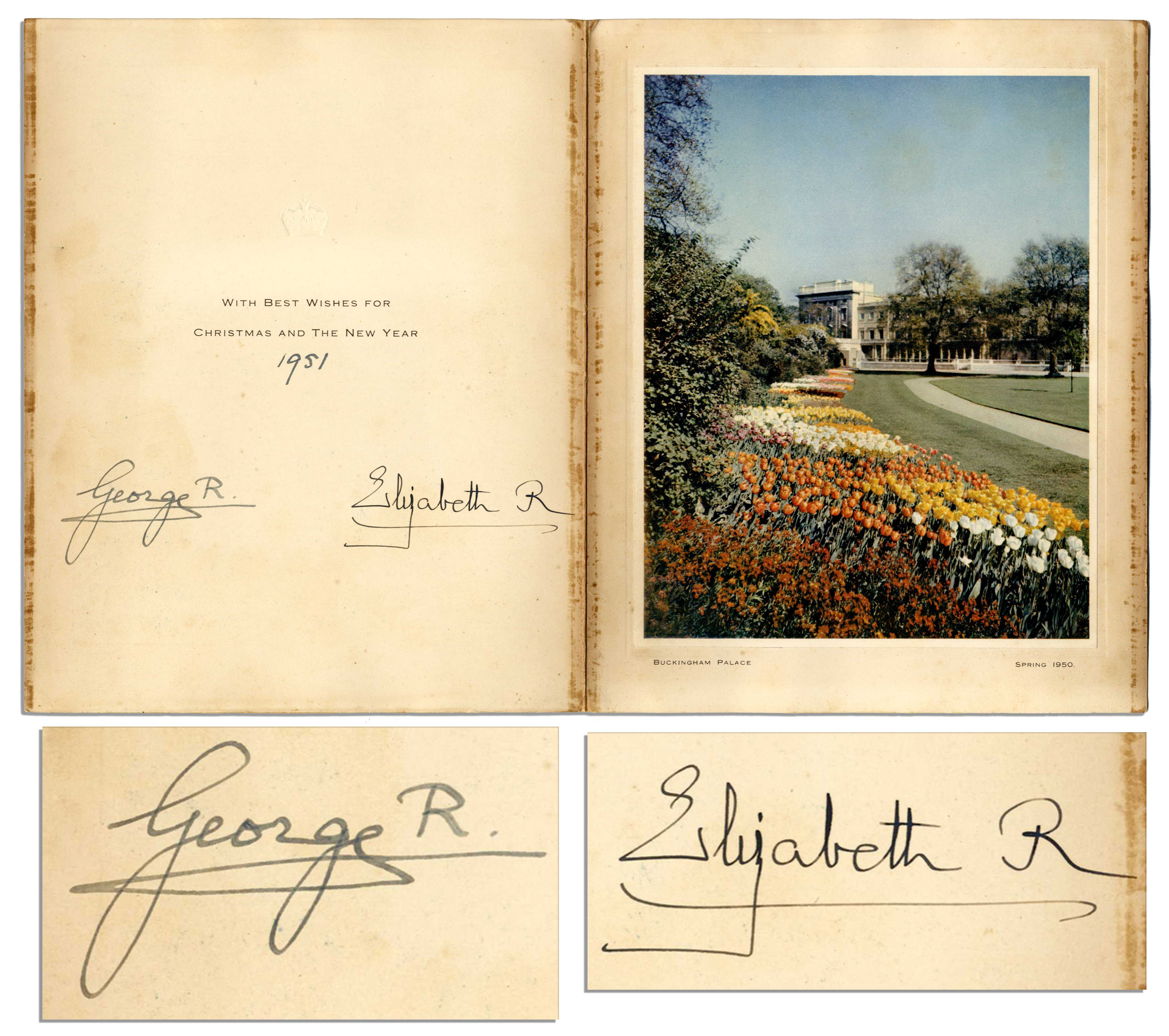 Lot Detail - 1951 Royal Christmas Card Signed by King George VI ...