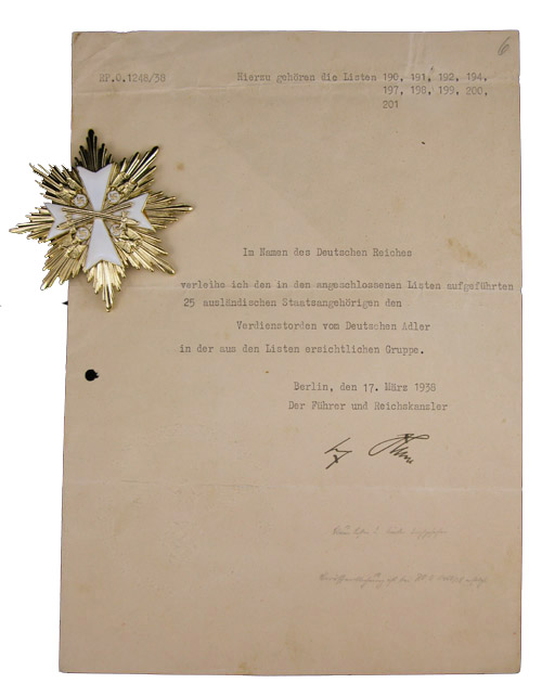 Adolf Hitler Autograph Adolf Hitler Signed 1938 Document, Awarding the German Eagle to Non-Germans -- Lot Also Includes Copy of Order Awarding the Eagle to Prescott Bush, Father and Grandfather of U.S. Presidents