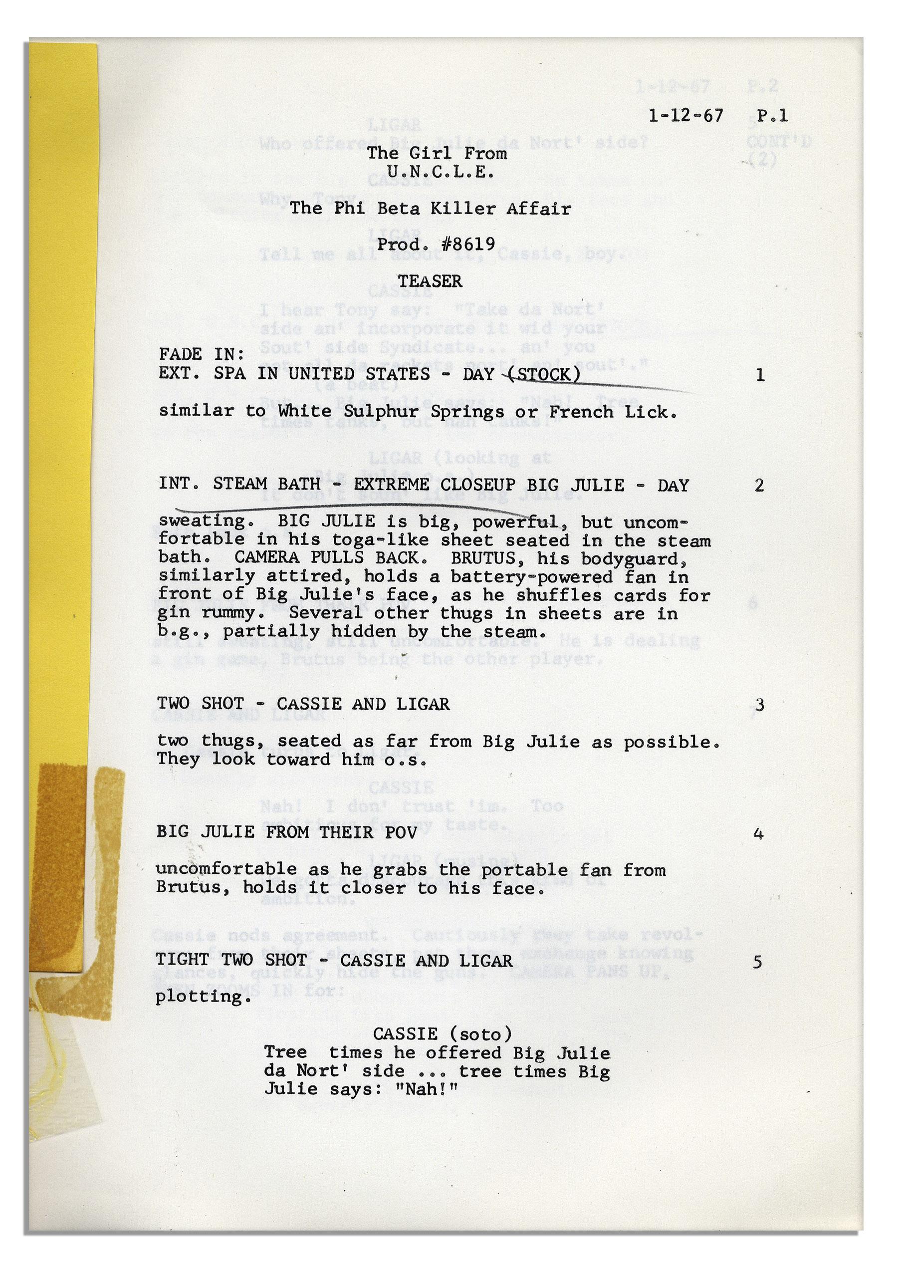 Lot Detail - ''The Girl From U.N.C.L.E.'' 1966 MGM TV Show Script ...