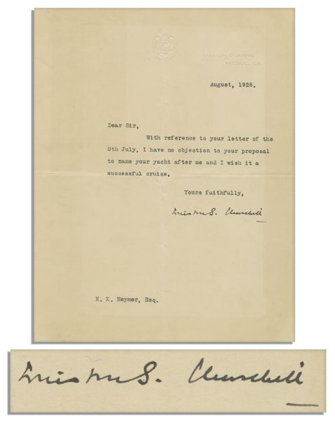 Winston Churchill Typed Letter Signed    U2026I Have No Objection To Your  Proposal To ...