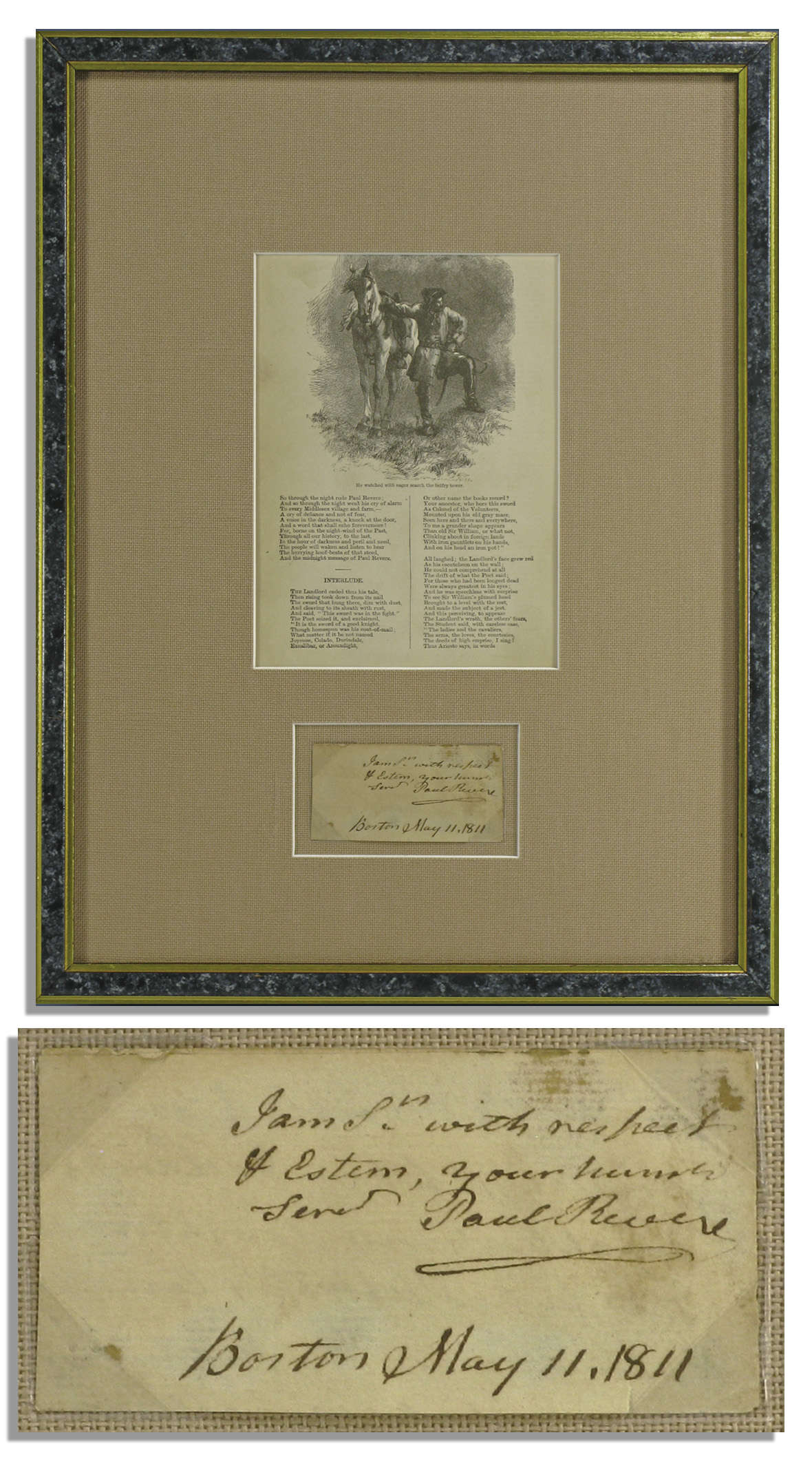 Paul Revere Autograph Paul Revere 1811 Autograph Note Signed -- Elegantly Framed With a Copy of Longfellow's Famous Poem About Revere