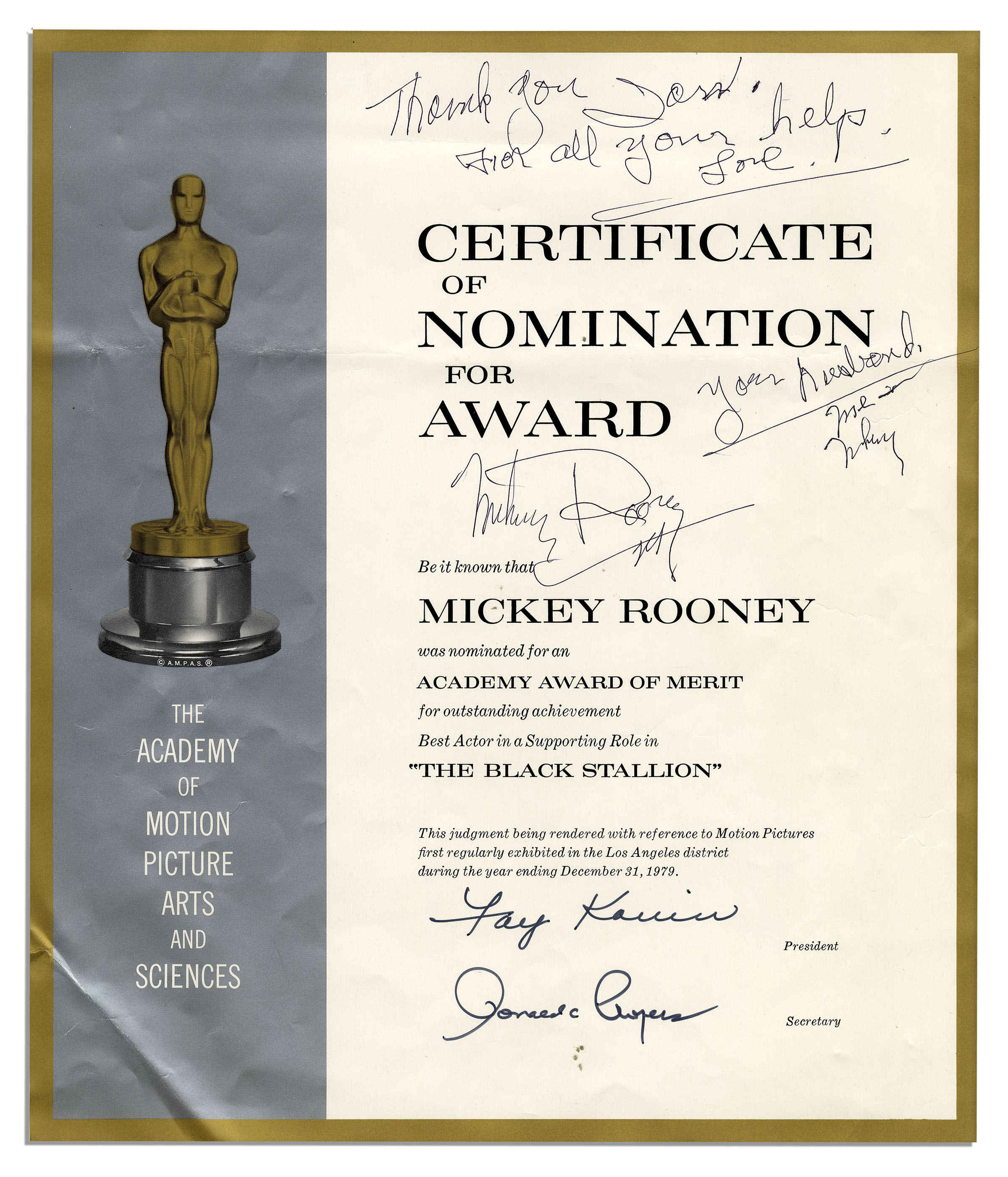 Lot detail mickey rooney official oscar nomination for for District award of merit certificate template